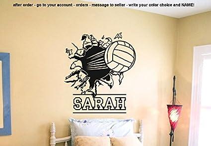 Wall Decal Vinyl Sticker Decals Art Decor Design Volleyball Ball Player Sport Game Girl Team Beach Custom Name Dorm Bedroom Fashion R48 Unique Volleyball Bedroom Decor