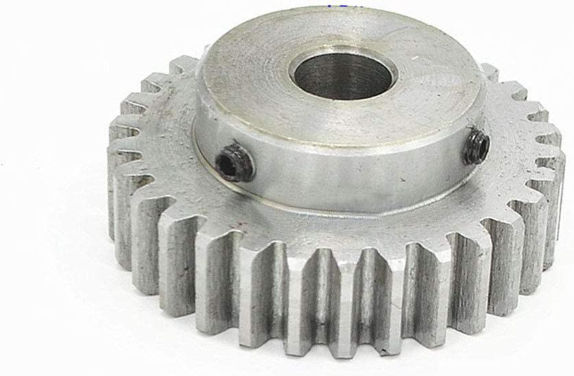 Bore: 8mm, 1.5Mod 40T 1.5Mod 40T Spur Gear With Step 45# Steel Heavy Duty Motor Pinion Gear 8mm Bore With Set Screws
