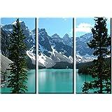 Framed Huge 3 Panel Modern Canada Banff Rocky Mountain Giclee Canvas Print
