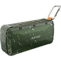 APIE Portable Wireless Outdoor Bluetooth Speaker IPX6 Waterproof Dual 10W Driversf , Enhanced Bass, Built in Mic,water Resistant