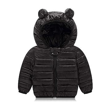654db769c9b47 AIKSSOO 新生児 ダウンジャケット 女の子 男の子 軽量 ベビー服 コート 冬用 フード付き 防寒 ブラック 110