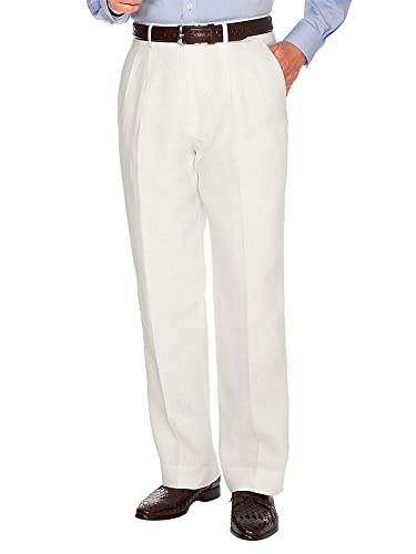 Men's Vintage Pants, Trousers, Jeans, Overalls Paul Fredrick Mens Linen Pleated Pant $115.00 AT vintagedancer.com