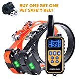 HISEASUN Dog Training Collar Rechargeable, 875yd Range Remote with Shock, Beep, Vibration, LED Light, Electric Dog Collar for Puppy, Small, Medium and Large Dogs