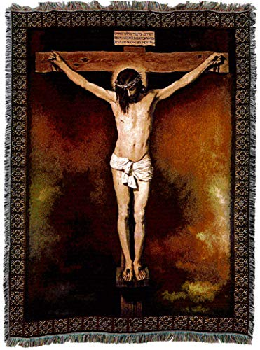 (Pure Country Weavers | Jesus Crucifixion Woven Tapestry Blanket by Velazquez; Cotton USA 72x54)