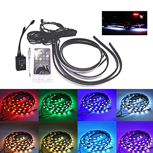 Cacys-Store - 90/120cm Car RGB LED Strip 5050 SMD DC12V 6000K RGB LED Strip Under Car Tube Underglow Underbody System Neon Light Kit ()