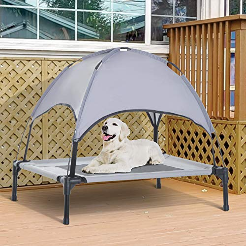 PawHut Elevated Cooling Dog Bed Cot w Canopy Shade – Gray
