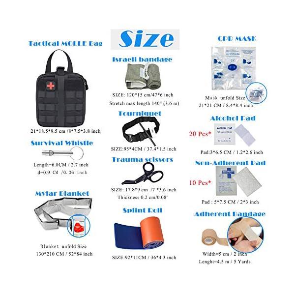 BUSIO Kit de Primeros Auxilios tácticos de Emergencia-MOLLE Admin Pouch IFAK-Vendaje para heridas Control de Sangre EMT… 1