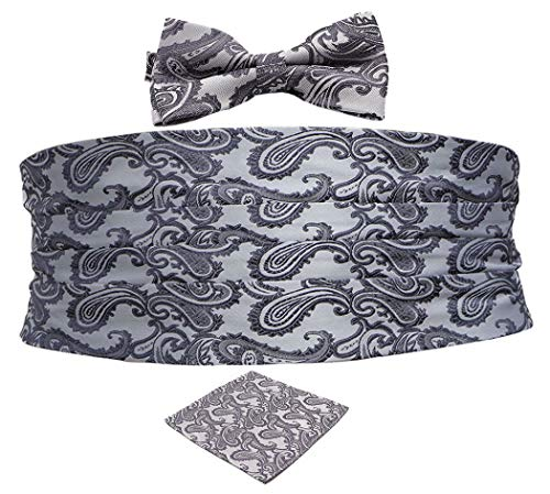 Biruil Men's Paisley Formal Cummerbund & Self Tie Bowtie & Pocket Square Set For Tuxedo (Grey)
