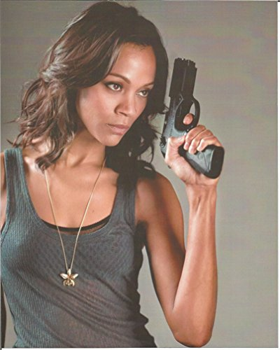 Zoe Saldana Guardians Of The Galaxy Costume (Zoe Saldana in tight grey tank top - 8 x 10 inch Costume Test Photo 004 waist up shot)