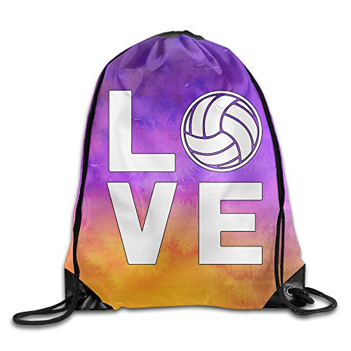 I Love Volleyball For Volleyball Fans Sports Drawstring Backpack Bags -