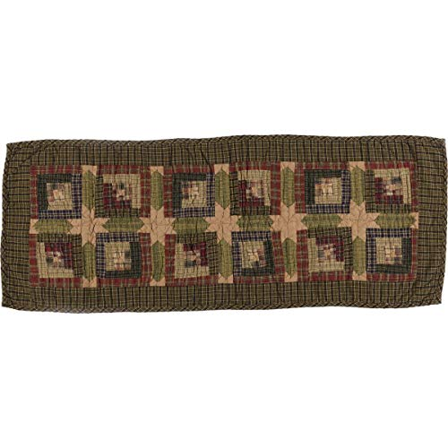 - VHC Brands Rustic & Lodge Tabletop & Kitchen - Tea Cabin Green Quilted Runner, 13