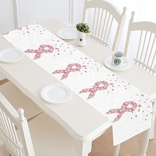 InterestPrint Breast Cancer Symbol with Flying Butterflies Table Runner Cotton Linen Home Decor for Wedding Party Banquet Decoration 16 x 72 Inches ()