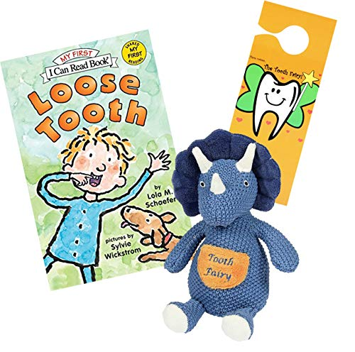 - Tooth Fairy Kit - Plush Triceratops Dinosaur Figure w/ Pocket Maison Chic, Loose Tooth a Tooth Fairy Book & Door Hanger for Boys About to Loose Their First Tooth (Triceratops with Loose Tooth Book)