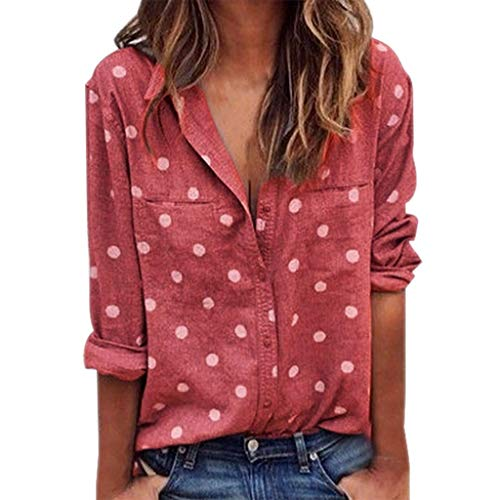 (Emimarol Women Blouse Casual Long Sleeve Tops Polka Dot Printing Shirts Watermelon Red)
