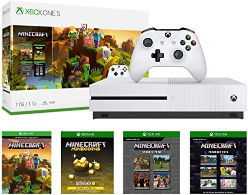 Xbox One S 1TB Console - Minecraft Creators Bundle: 1TB Xbox One S Console, Wireless Controller, Full Game Download of Minecraft, Minecraft Starter, Creators Pack, 1000 Minecoins, Super Bundle