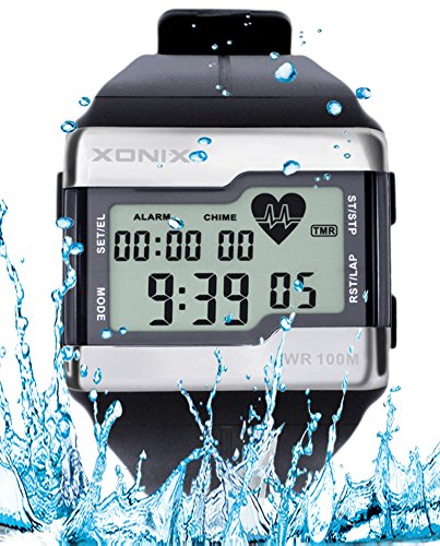 Price comparison product image Heart Rate Monitor Men Sports Health Fitness Calories Watch 100 Meters Diving Waterproof Digital Watches