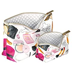 A set of 2 cosmetic bags with a designer pattern that can be used as organizers for cosmetics and small things or as exquisite handbags. Metal zipper and soft lining will reliably protect your things from loss or damage. A set of cosmetic bag...