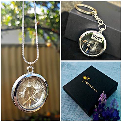 Set de regalo Plata Esterlina Diente de león de plata Guardapelo y Llavero del medallón - flotante con caja de regalo para mujeres regalo de ...