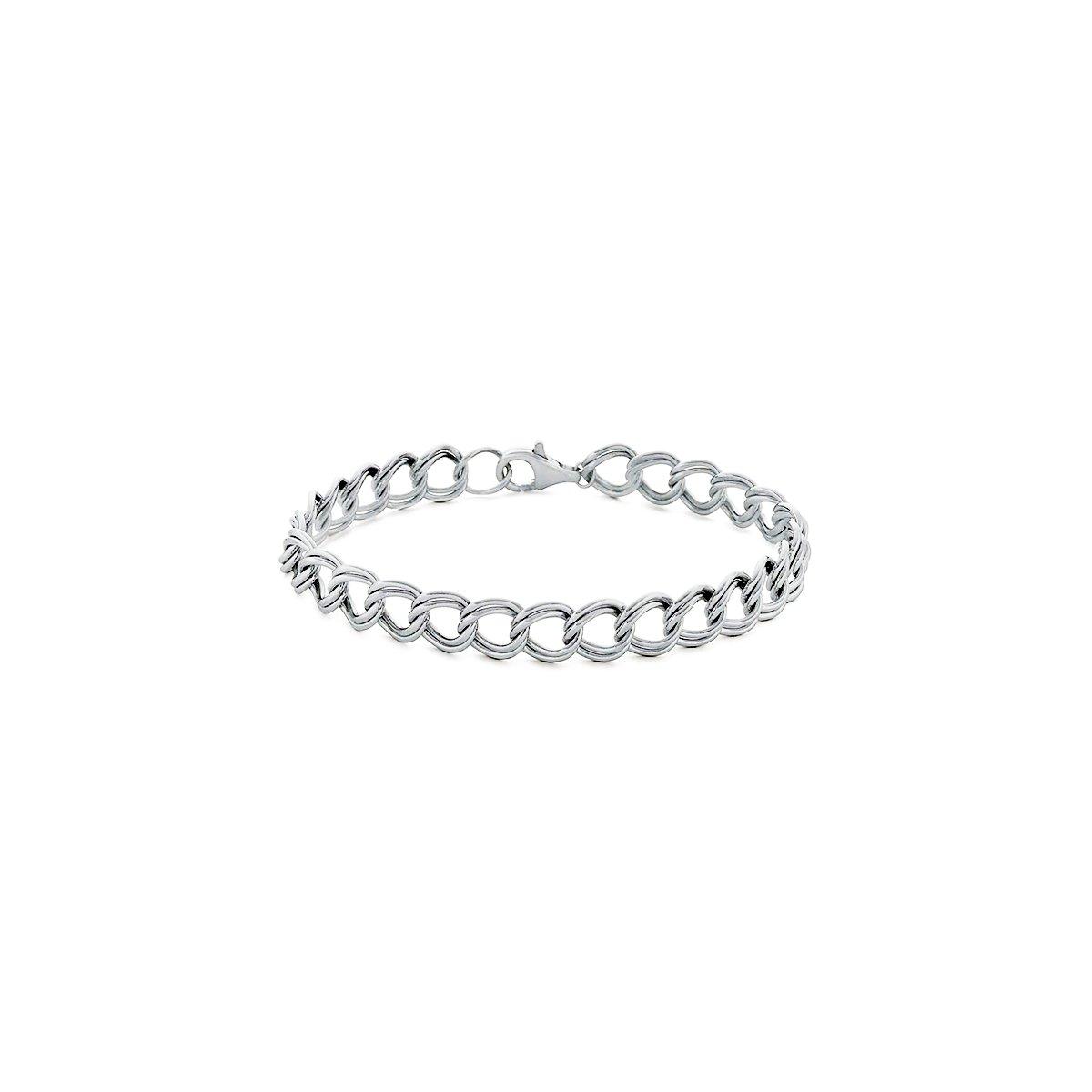 Orostar Sterling Silver 925 Italian 4mm Double Link Charm Bracelet, Sizes 5'' - 9'' (8)