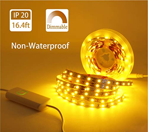 (MYPLUS Dimmable LED Strip lights, 16.4ft Flexible Tape Light, Amber 2200K Flexible Led Tape light with UL Listed Power Supply Safe to Use For Home Decorations, Party, Christmas,Stairway, wedding, etc.)