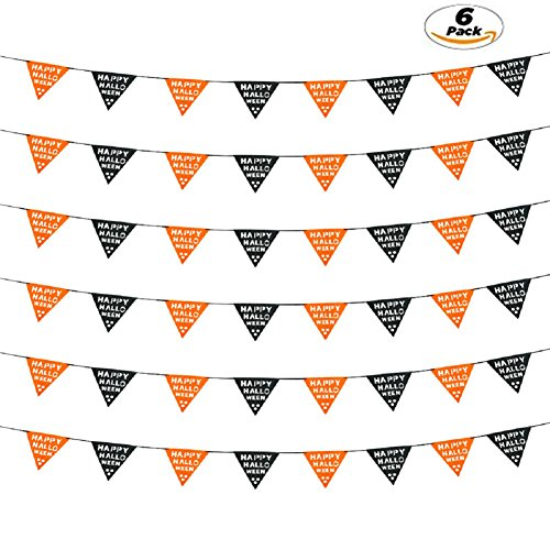 Pumpkin Patterns Printable (YHUIPEIUS 6pcs Non-Woven Fabric Halloween Pumpkin Banner Garland Triangle Flag Bunting Pennant Party Decorations (Triangle))
