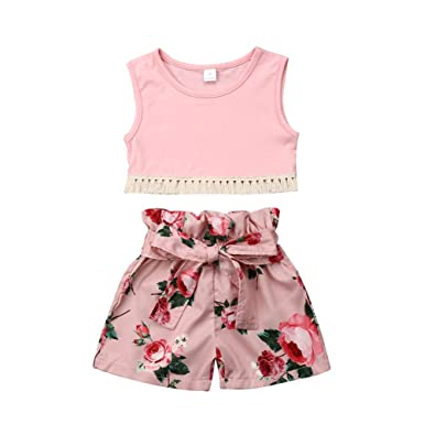 be3a86d51559 Amazon.com  1-6T Kids Baby Girls Summer Clothes Vest Tops Floral Shorts  Pants 2PCS Outfits Sets Pink  Clothing