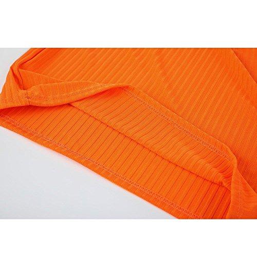 Diario Color Mangas Naranja Shoulder 2018 Sin Verano Casual Mujer Faldas Off Fiesta Vestidos Ajustados Sólido Elegantes Moda nOSxHw0qv
