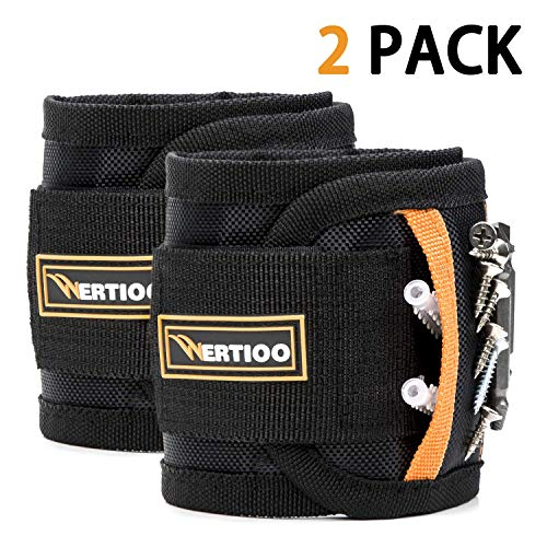 2 Pack Magnetic Wristband Holding Screws,WERTIOO Magnetic Screw Holder With Strong Magnets for Best Unique Christmas Gift for Men, DIY Handyman, Father/Dad, Husband, Boyfriend, Him, Women