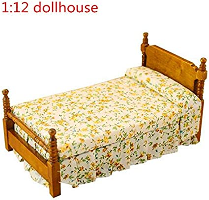 1:12 Dollhouse Miniature Furniture Wooden Single Bed Traditional Flower Bed