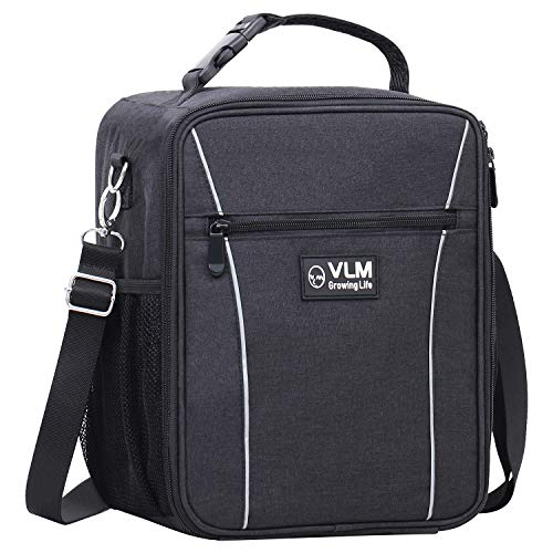 VLM Insulated Lunch Box for Boys,Men,Reusable Leakproof Cooler with Shoulder Strap Lunch Bag for Adults,Women,Office,Picnic(Black)