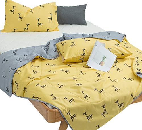 J-pinno Cartoon Deer Quilt Comforter Reversible Twin Gift for Kids Boys Girls Bed Couch Coverlet Blanket(27, Twin 59
