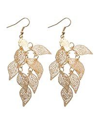 Fashion Drop Copper Leaf Design Earring Women Charms Jewelry Gift Gold