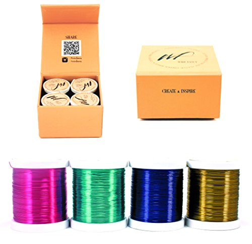 28 Gauge Tarnish Resistant Silver Plated Copper and Copper Wire Set of 4 spools. Thin Wire for Wrapping Jewelry Making Beading Crochet Colored DIY Artistic Craft Wire kit (WF Color Set 3, 0.30 mm)