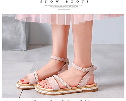 sandals straw flat Rome apricot fringe fringe lace ShangYi Leather Summer tasseled heel heel shoes q0XzgaxTw