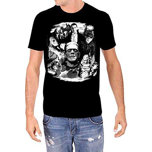 Universal Monsters Collage Frankenstein Karloff Lugosi Men's Glow In The Dark T-Shirt (L)