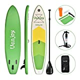 Uenjoy 10' Inflatable Stand Up Paddle Board (6 Inches Thick) Non-Slip Deck Adjustable Paddle Backpack,Pump, Repairing kit, Green