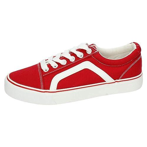 ZAPATOP 7-A1900C-12 Bambas Lona Rojas Mujer Zapatillas Rojo 36