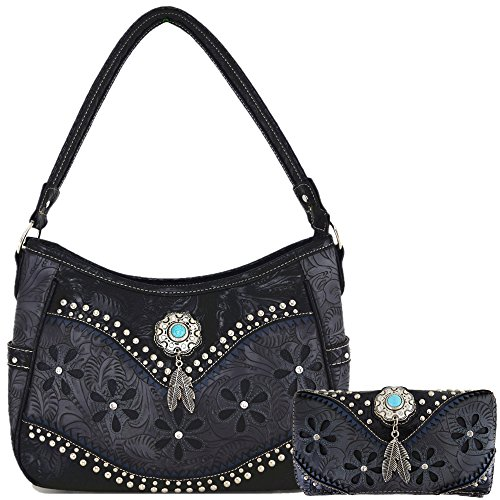 - Tooled Leather Laser Cut Concealed Carry Purses Feather Country Western Handbags Shoulder Bags Wallet Set (Black)