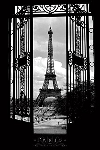Pyramid America Eiffel Tower in 1909-Paris-Black and White, Photography Poster Print, 24 by 36-Inch