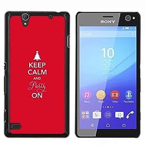 EJOOY---Cubierta de la caja de protección para la piel dura ** Sony Xperia C4 ** --Invierno Navidad Vacaciones Red Spruce Tree