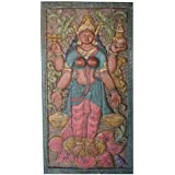 Vintage Wall Hanging Barn Door Lakshmi Hindu goddess of wealth Hand Carved Wall Relief Panel