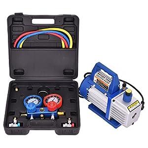 10. Goplus 4CFM 1/3HP Air Vacuum Pump HVAC Refrigeration Kit AC Manifold Gauge Set R134