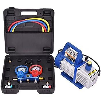 Goplus 4CFM 1/3HP Rotary Vane Vacuum Pump Single-Stage HVAC Air Conditioner Refrigeration Kit AC Manifold Gauge Set R134