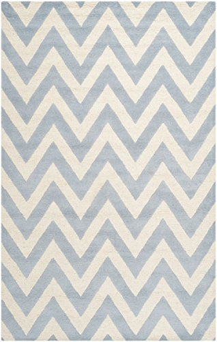 light blue and white rug - 4