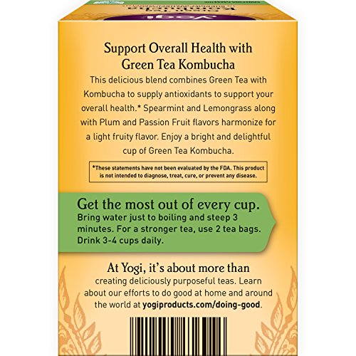 Yogi Tea - Green Tea Kombucha - Supplies Antioxidants - 6 Pack, 96 Tea Bags Total - incensecentral.us