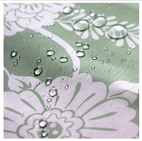 Eforgift Floral Pattern Fabric Shower Curtain WaterproofMildew Repellent Curtains With Free Hooks
