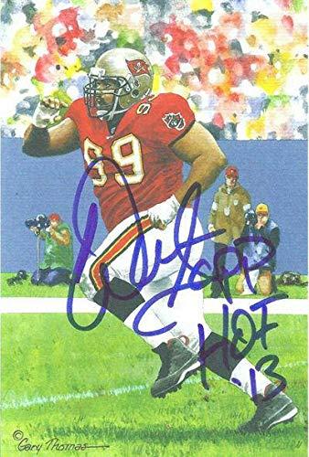 Warren Sapp Autographed Tampa Bay Buccaneers Goal Line Art Blue HOF 13144 - Original NFL Art and Prints ()