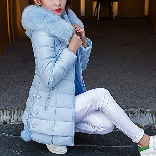 Capucha Y Piel De Azul Abrigo Caliente Cálido Chaqueta sungren Algodón Delgado Largo Cardigan Cuello Mujer Parka Con Coat 655q8x