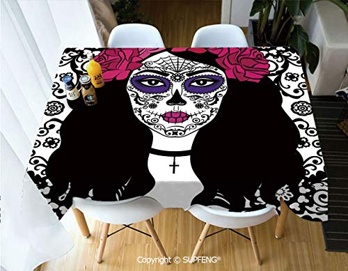 Picnic Tablecloth Girl with Sugar Skull Make Up Dia De Los Muertos Traditional Art Decorative (60 X 84 inch) Great for Buffet Table, Parties, Holiday Dinner, Wedding & More.Desktop -