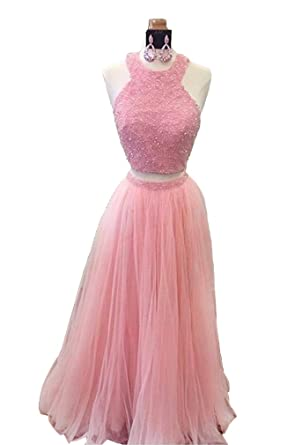 ChangLZ Womens Halter Beaded Prom Dresses Long Two Piece Evening Gowns Sequins Open Back Party Dress